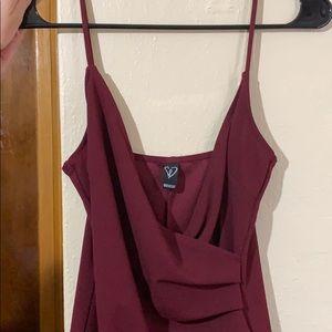Burgundy Windsor Asymmetrical Dress